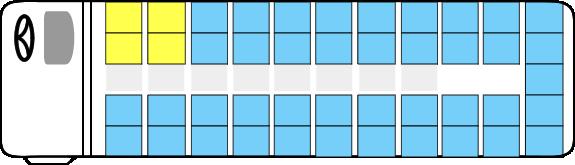 大型バスの座席表:前方座席が上座