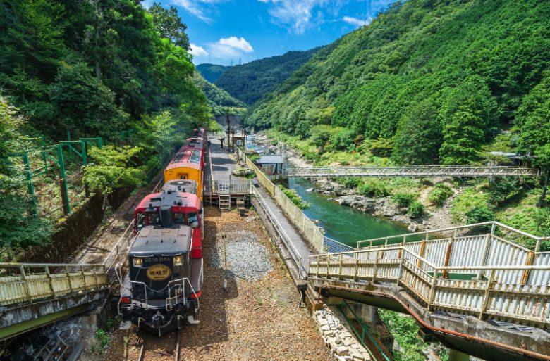保津川渓谷とトロッコ列車