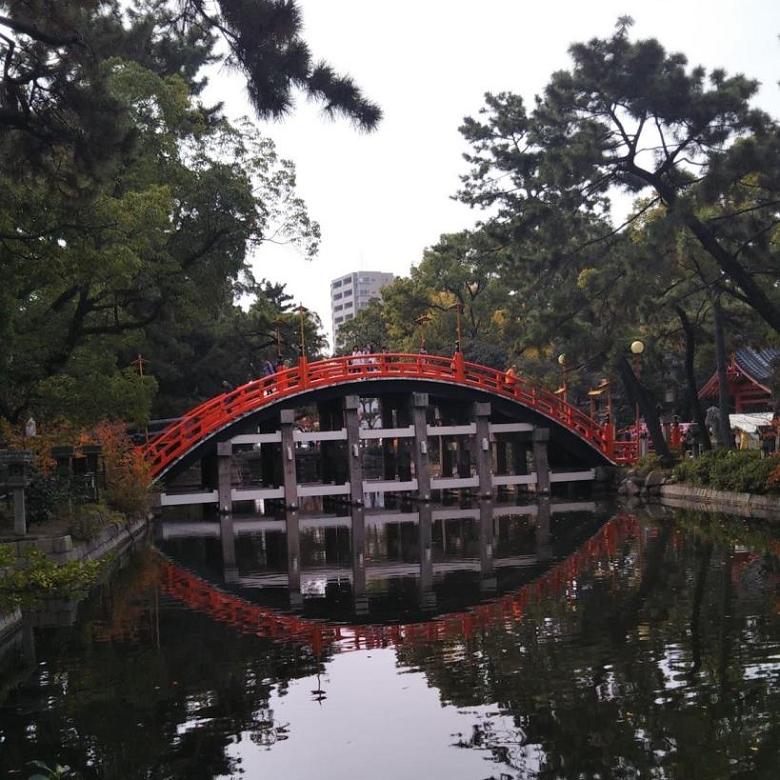 境内にある有名な反橋(そりばし)