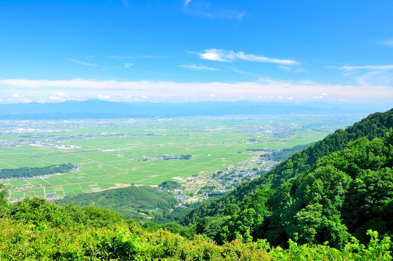 弥彦山山頂から眺める越後平野