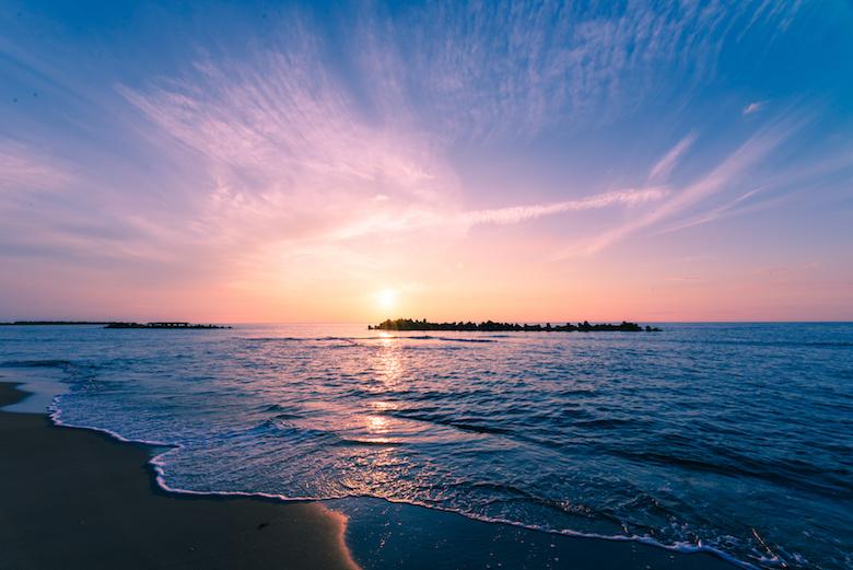 湯野浜温泉から望む夕日
