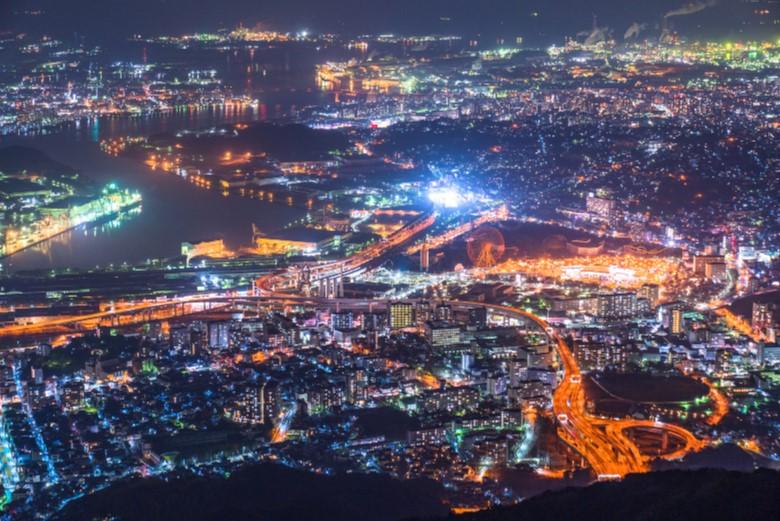 日本新三大夜景のひとつ、皿倉山からの夜景