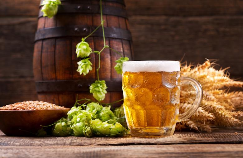 生ビールとホップと麦芽